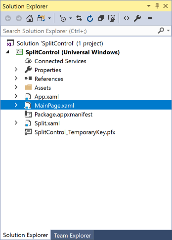 vs2017-mainpage-split-control