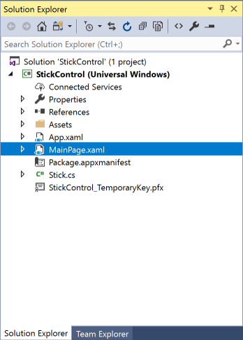 vs2017-mainpage-stick-control