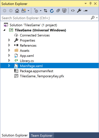 vs2017-mainpage-tiles-game
