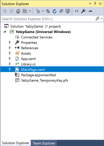vs2017-mainpage-yatzy-game