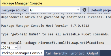 vs2017-package-manager-console-chaseable-tiles