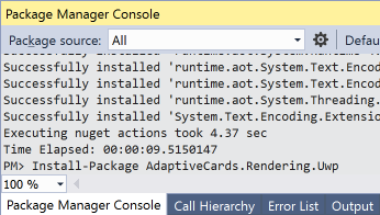 vs2017-package-manager-console-adaptive-card-adaptivecards-rendering-uwp