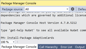 vs2017-package-manager-console-adaptive-card-adaptivecards